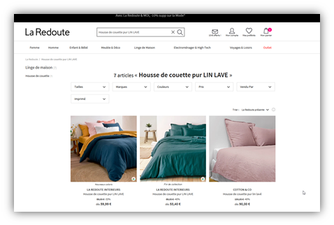 Product listing page at La Redoute's website